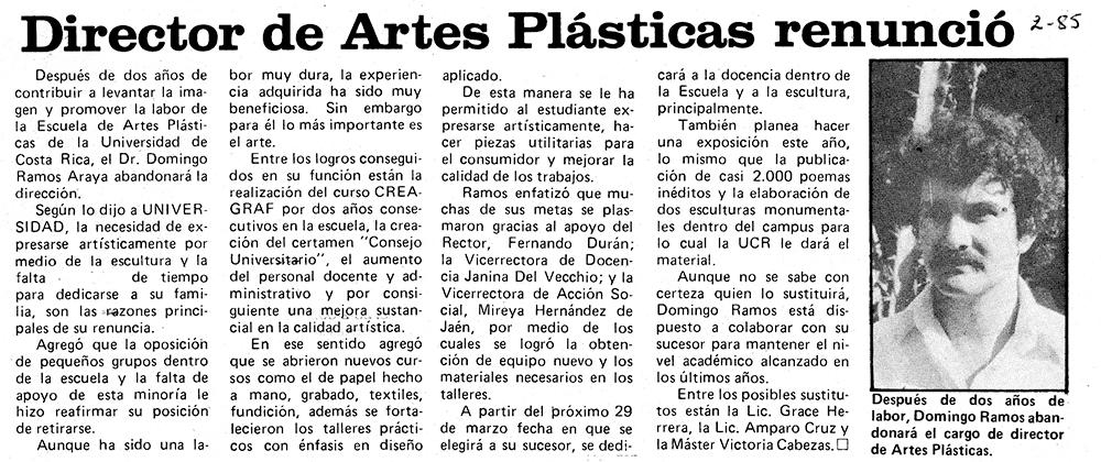 Director de Artes Plásticas renunció
