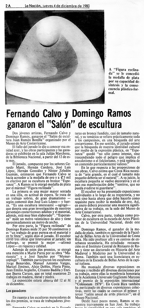 """F. Calvo y D. Ramos ganaron el """"Salón"""" de escultura"""