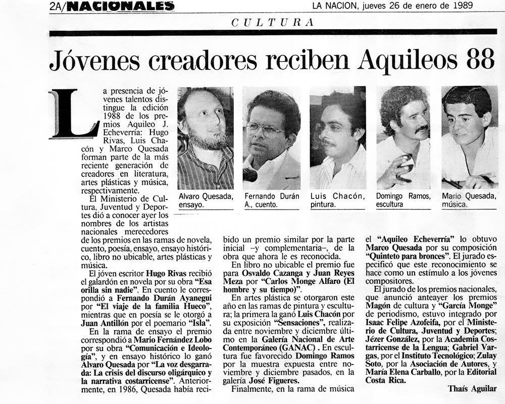 Jóvenes creadores reciben Aquileos 88